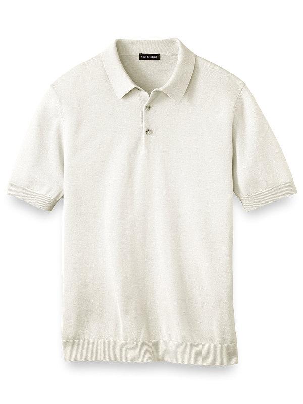 Silk Cotton and Cashmere Three Button Polo