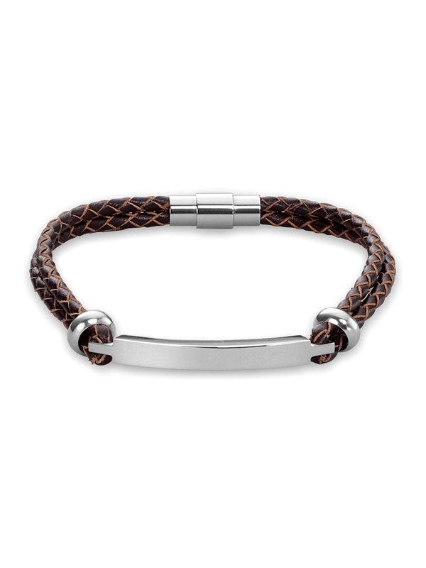 Metal Plate Braided Leather Bracelet