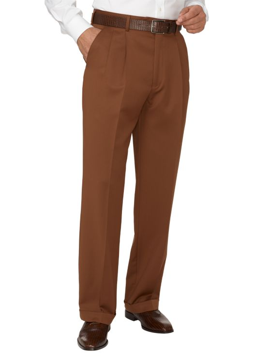 Wool Gabardine Pleated Pants