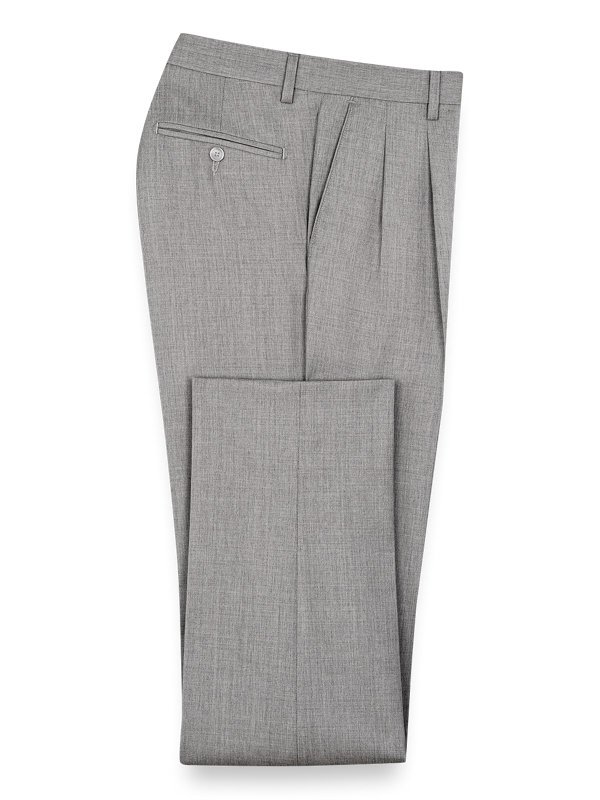 Classic Fit Wool Gabardine Pleated Pants
