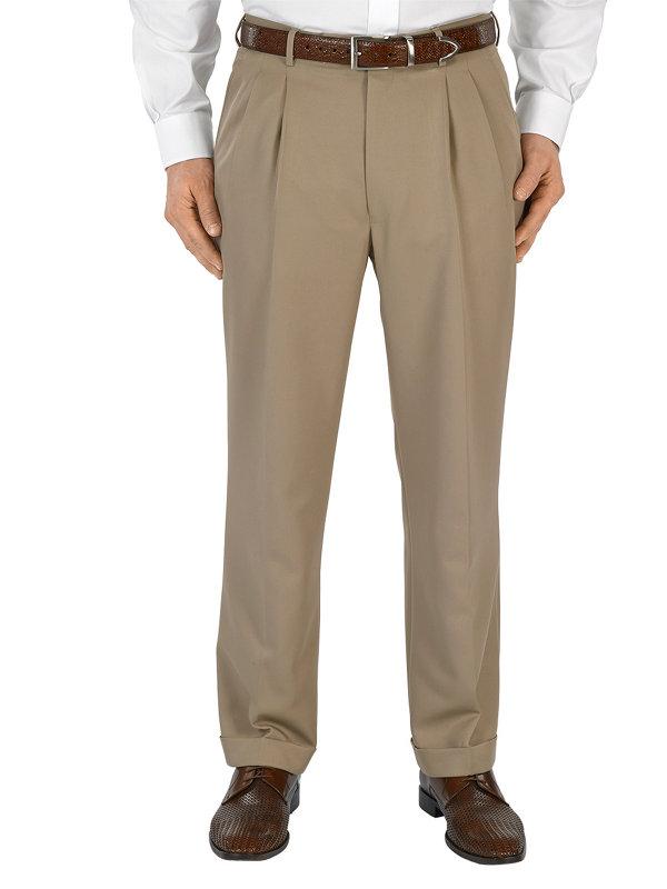 Microfiber Solid Pleated Pants