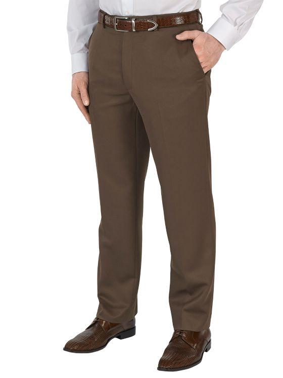 Microfiber Solid Flat Front Pants