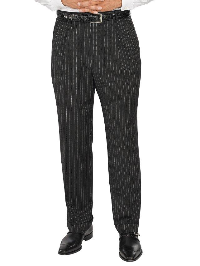 Comfort-Luxe™ Super 100's Italian Wool Pleated Stripe Pants