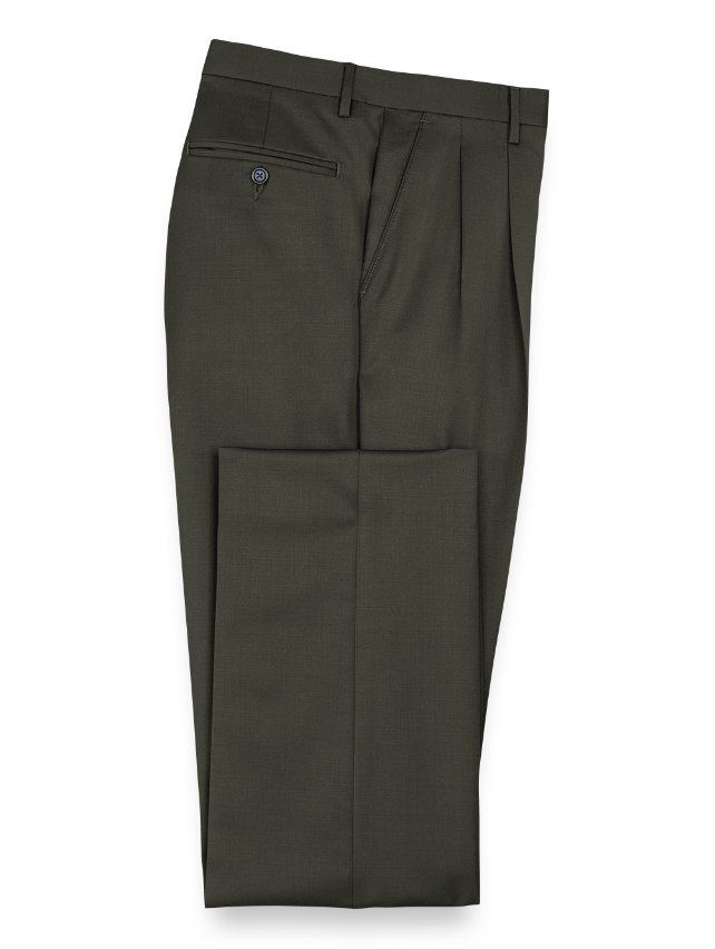 Slim Fit Wool Gabardine Pleated Pants