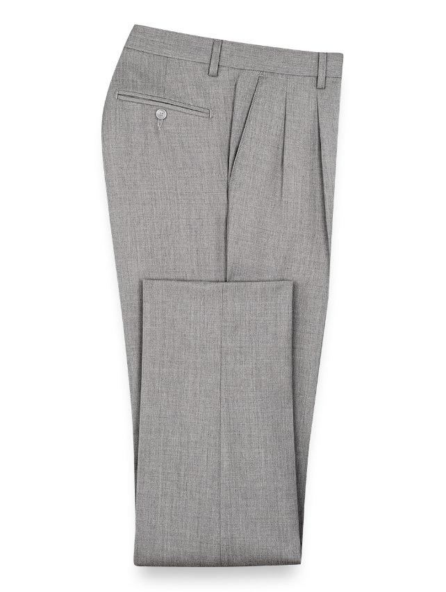 Slim Fit Wool Gabardine Pleated Pants