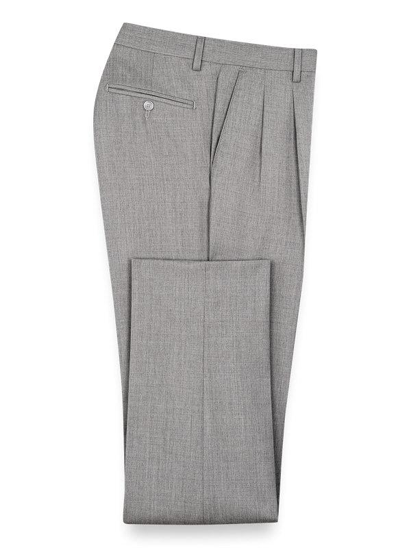 Tailored Fit Wool Gabardine Pleated Pants