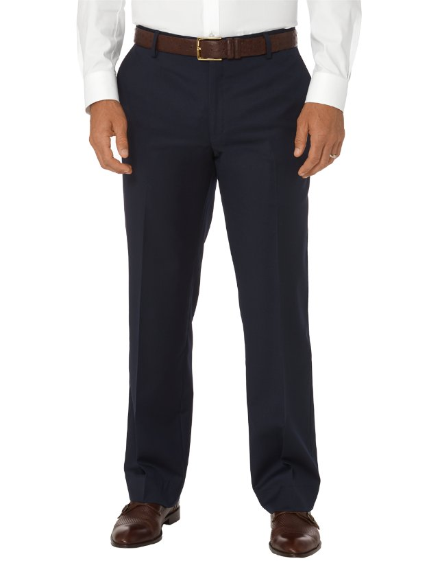 Tailored Fit Wool Gabardine Flat Front Pants