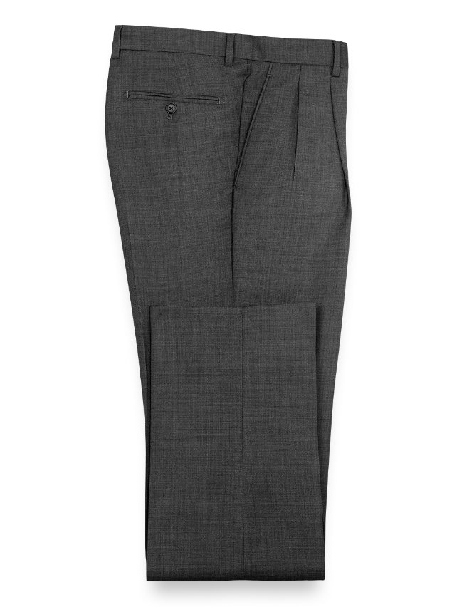 Super Fine Wool Sharkskin Pleated Pants