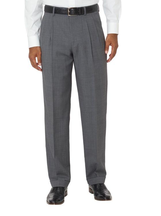 Tailored Fit Super Fine Wool Sharkskin Pleated Pants