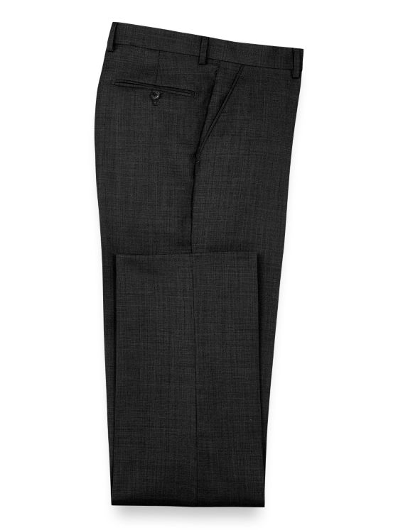 Super Fine Wool Sharkskin Flat Front Pants