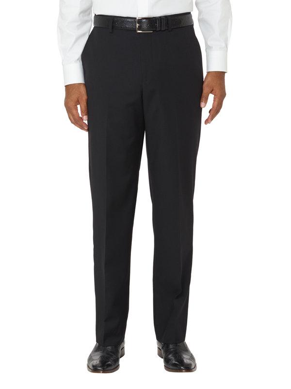 Tailored Fit Super Fine Wool Sharkskin Flat Front Pants