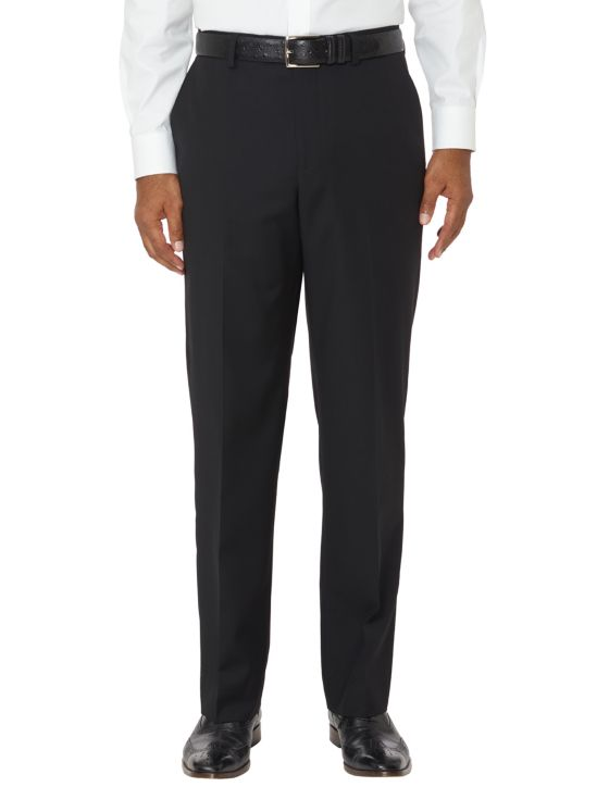 Tailored Fit Super Fine Wool Sharkskin Flat Front Pants