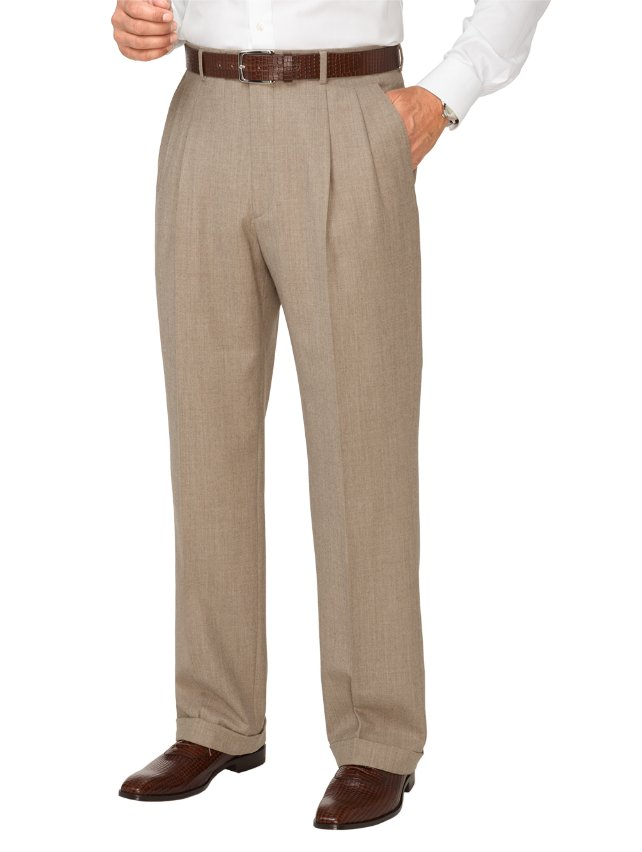Italian Wool & Cashmere Pleated Pants