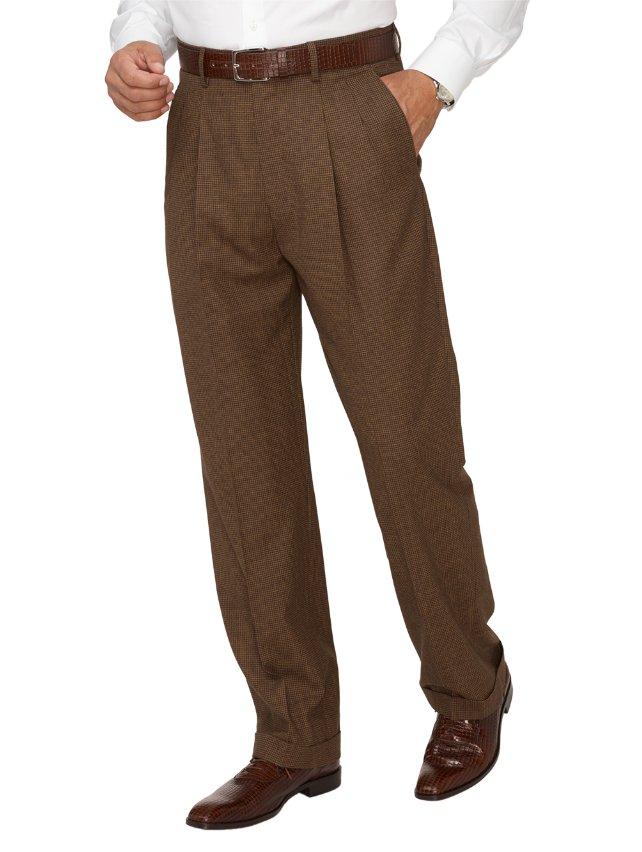 Super 110's Wool & Cashmere Plaid Pleated Pants
