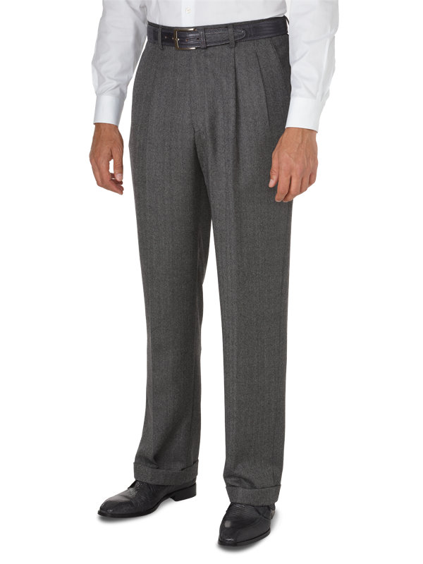 Classic Fit Italian Wool Herringbone Pleated Pant