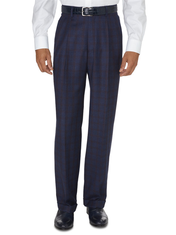 Classic Fit Italian Wool And Cashmere Plaid Pleated Pant