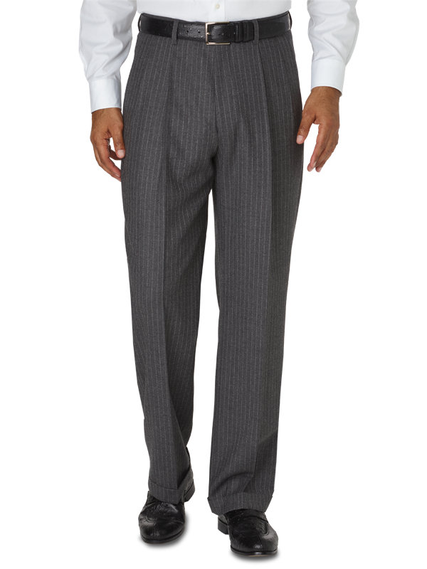 Classic Fit Italian Wool And Cashmere Stripe Pleated Pant