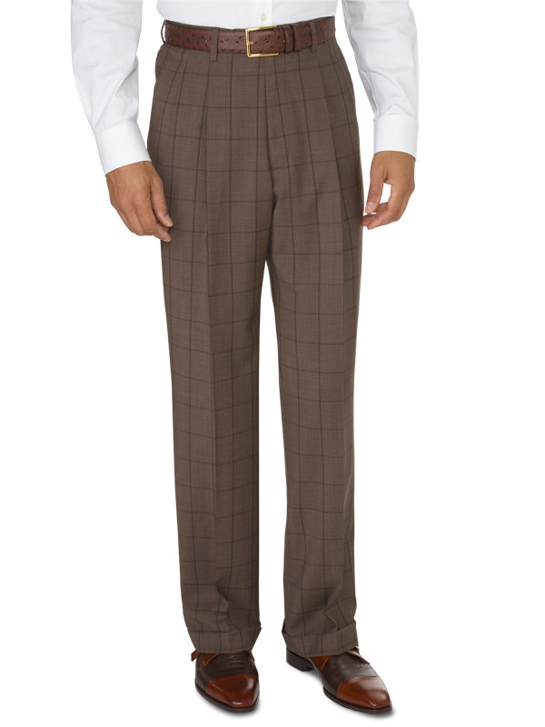 Classic Fit Luxury Wool Windowpane Pleated Pant