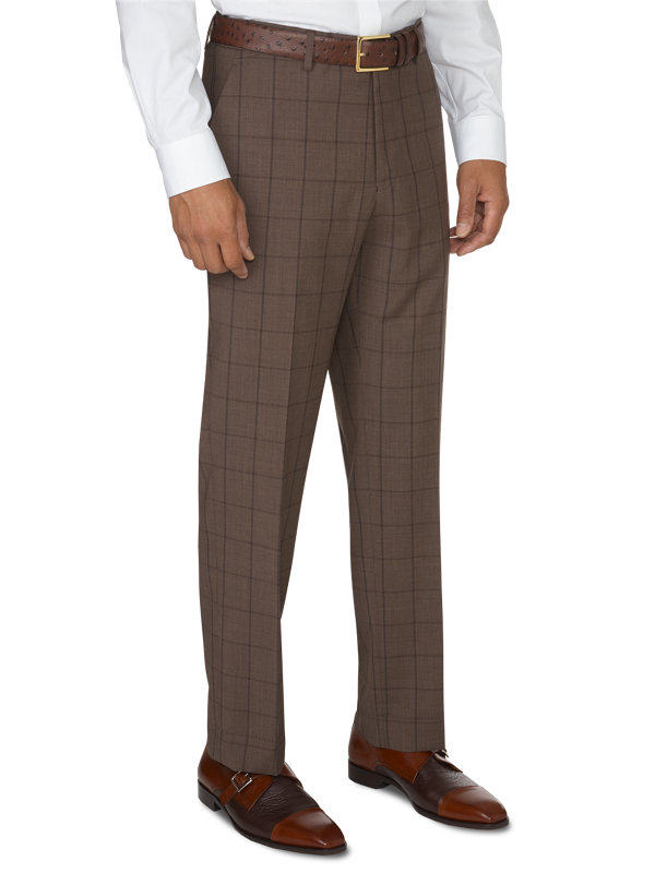 Tailored Fit Luxury Wool Windowpane Flat Front Pant