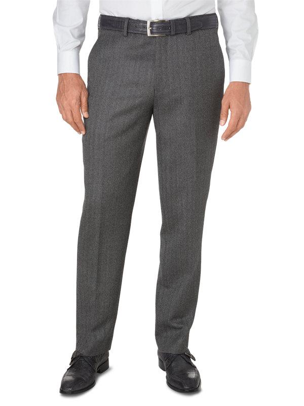 Tailored Italian Wool & Cashmere Herringbone Flat Front Pant