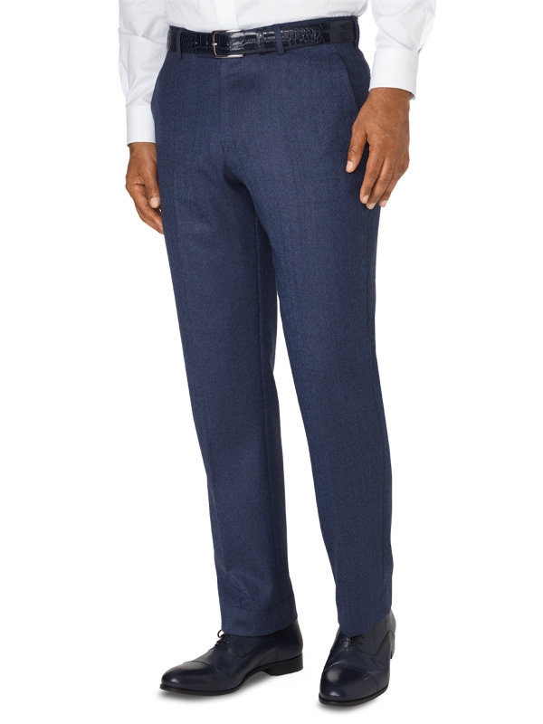 Tailored Italian Wool & Cashmere Herringbone Flat Front Pant