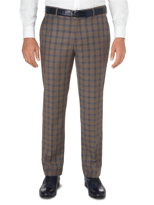 Tailored Fit Italian Wool & Cashmere Plaid Flat Front Pant