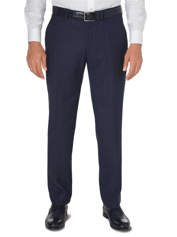 Tailored Fit Italian Wool & Cashmere Stripe Flat Front Pant