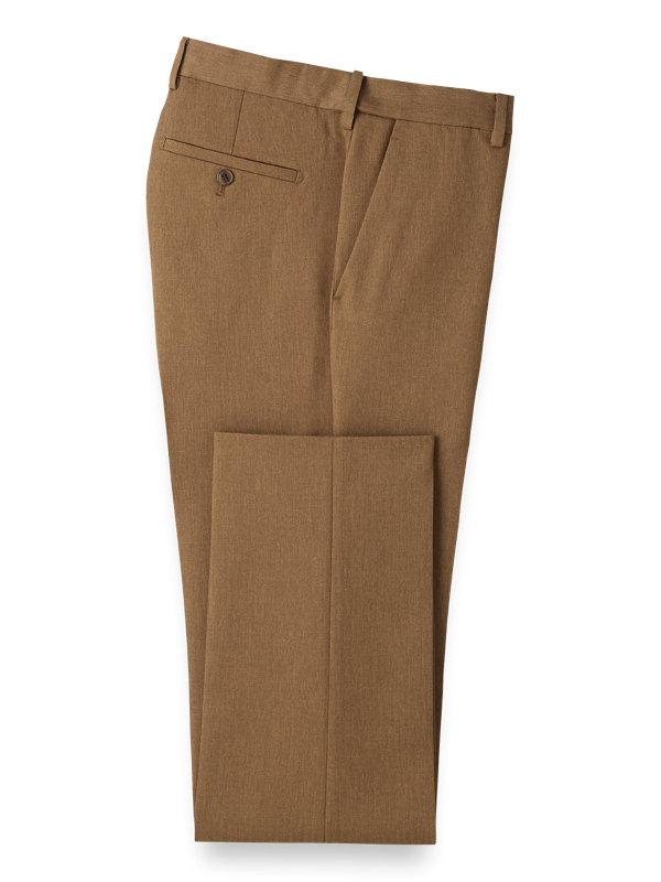 Tailored Fit Microfiber Herringbone Flat Front Pants