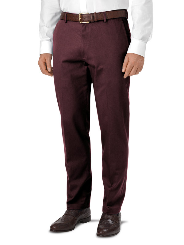 Impeccable Cotton Chino Flat Front Pants