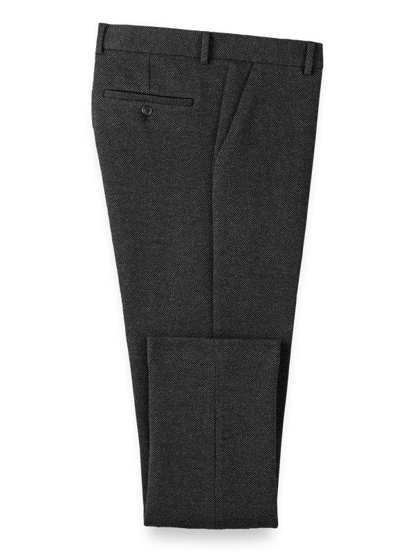 Knit Herringbone Flat Front Pants