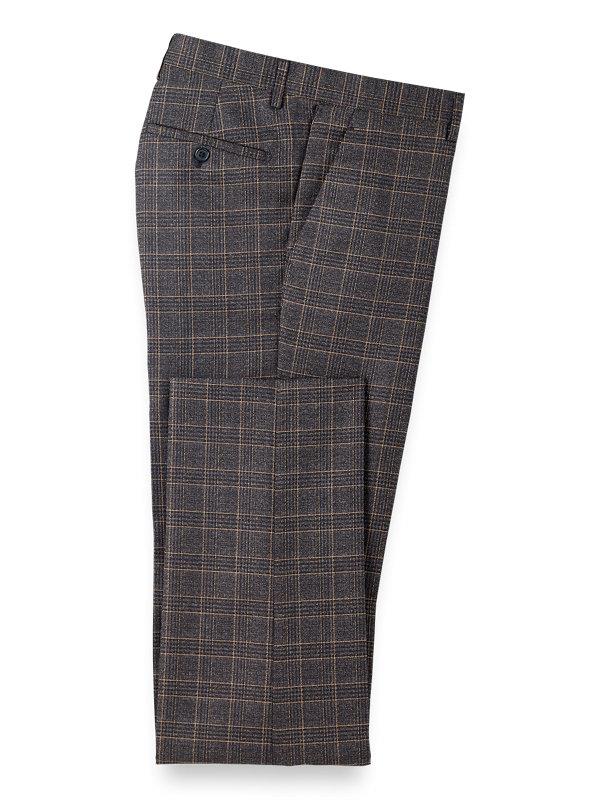 Plaid Flat Front Pants