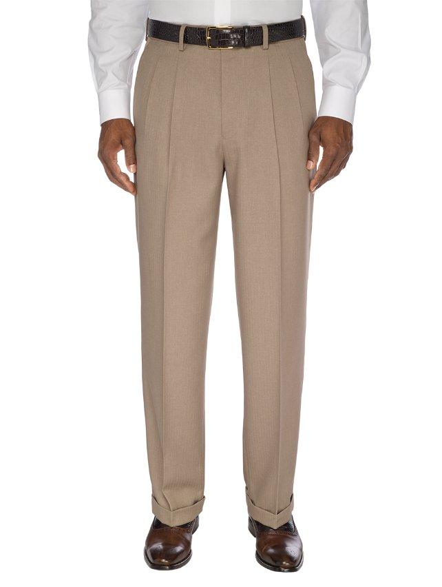 Comfort-Luxe™ Waist Microfiber Herringbone Pleated Pants