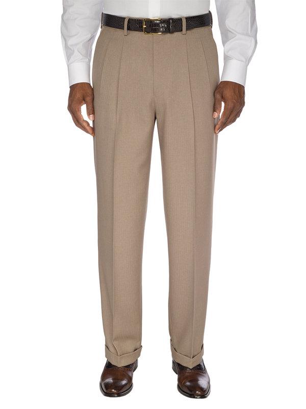 Comfort-Waist Microfiber Herringbone Pleated Pant