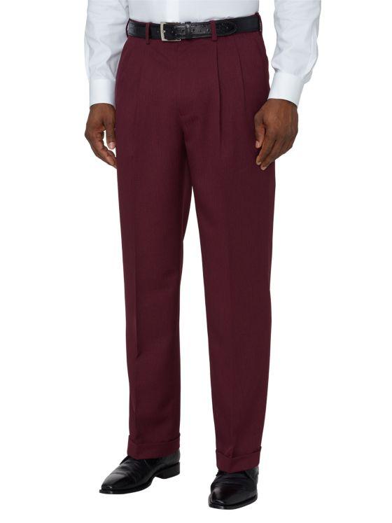 Comfort-Waist Microfiber Herringbone Pleated Pants