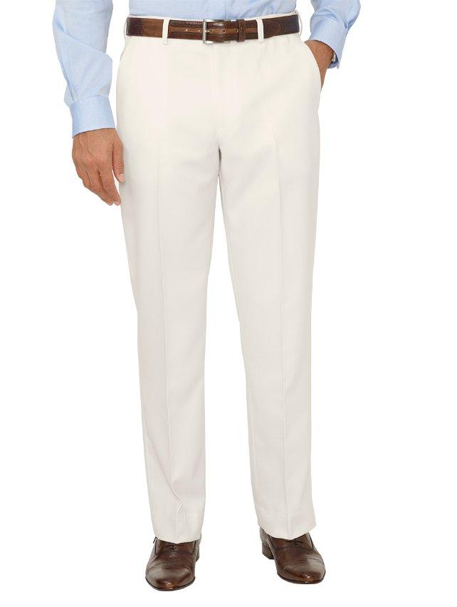 Comfort-Luxe™ Waist Microfiber Herringbone Flat Front Pants