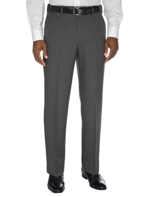 Comfort-Waist Microfiber Herringbone Flat Front Pant