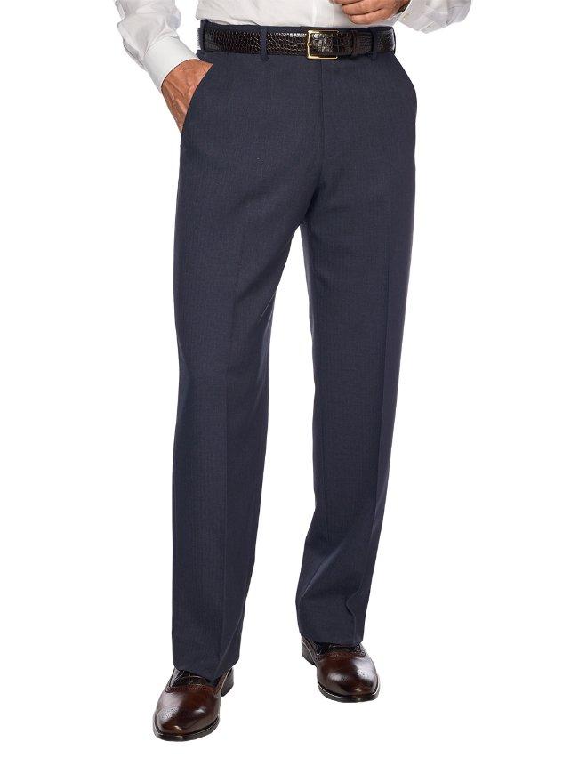 Comfort-Luxe Waist™ Microfiber Herringbone Flat Front Pants