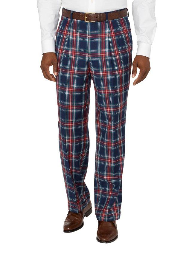 Wool Tartan Plaid Pleated Pants