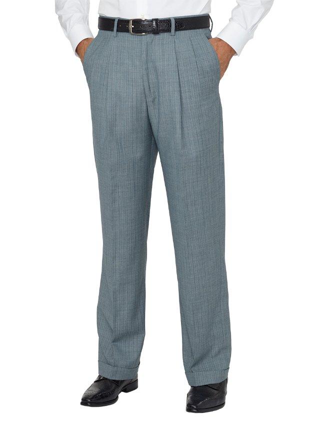 Wool Herringbone Pleated Pant