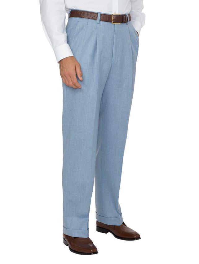 Wool Flannel Comfort-Waist Pleated Pants