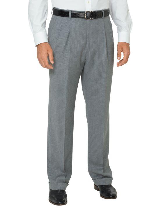 Italian Super 100's Fine Line Stripe Pleated Pants