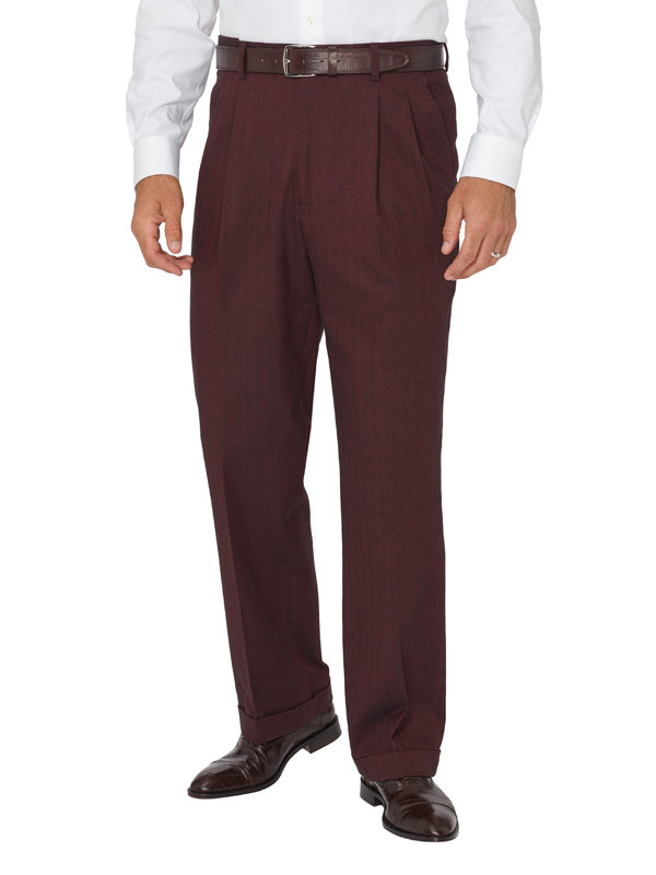 Ultimate Comfort Cotton Herringbone Pleated Pants