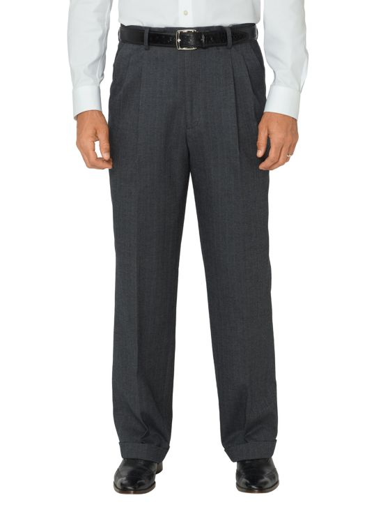 Ultimate Comfort Cotton Herringbone Pleated Pants
