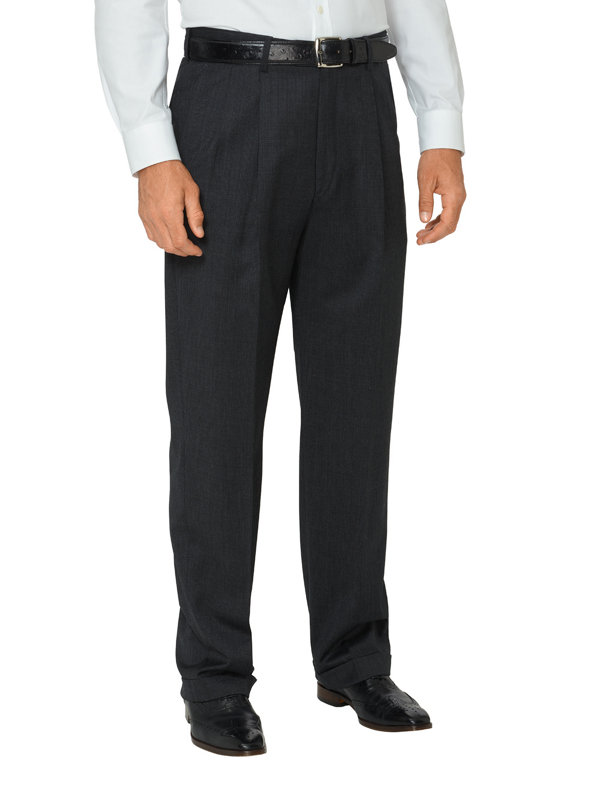Super 110's Wool & Cashmere Patterned Pleated Pants