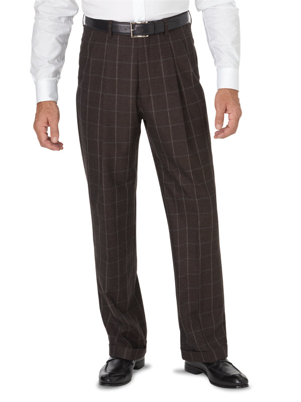 Classic Fit Italian Wool & Cashmere Windowpane Pleated Pant
