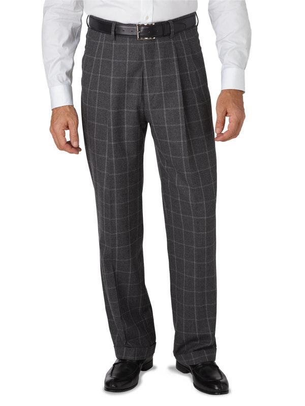 Classic Fit Italian Wool & Cashmere Windowpane Pleated Pant