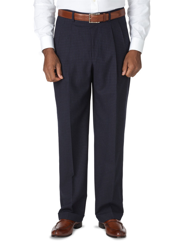 Classic Fit Italian Wool Mini Check Pleated Pant