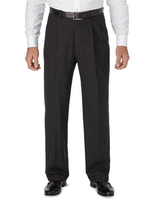 Classic Fit Italian Wool Mini Check Pleated Pant