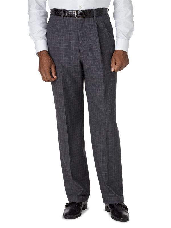 Classic Fit Luxury Italian Wool Plaid Pleated Pant