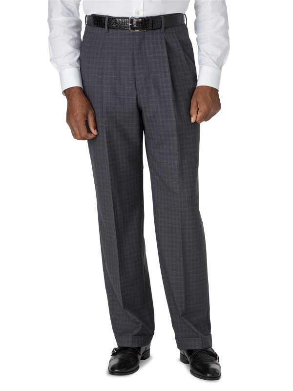 Classic Fit Luxury Italian Wool Plaid Pleated Pant